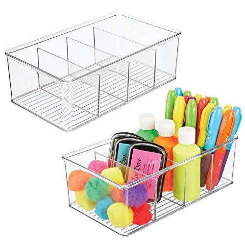 mDesign Set da 2 box in plastica per accessori per cucire – Organizer salvaspazio per colori, penne, glitter – Scatole ideali come cestini cucito con 4 scomparti – trasparente
