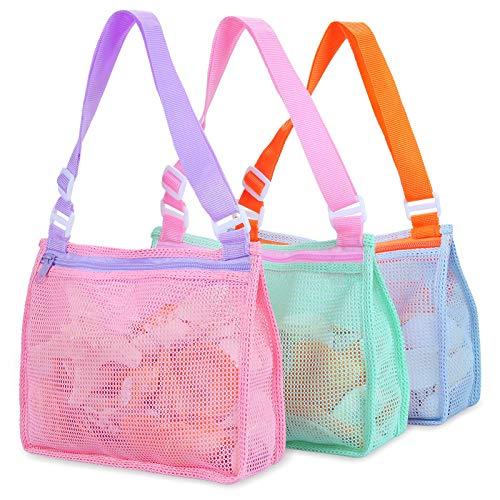 Strandtasche Strandspielzeug Tasche Kinder Muschel Sammeltasche Strand Sand Spielzeug Beutel zum Halten von Muscheln Strandspielzeug Sandspielzeug Schwimmzubehör für Jungen und Mädchen (3er-Set)