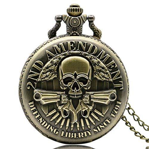 J-Love Steampunk Skull 2nd Enmienda Reloj de Bolsillo Bronce Cuarzo-Relojes Hombres