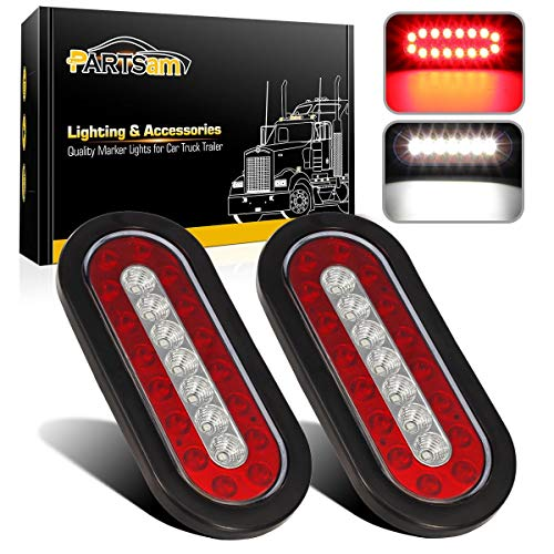 """Partsam 2Pcs 6.3"""" inch Oval Truck Trailer Led Tail Stop Brake Lights Taillights Running Red and White Backup Reverse Lights, Sealed 6.3 inch Oval led Trailer Tail Lights w reflectors Flush Mount"""