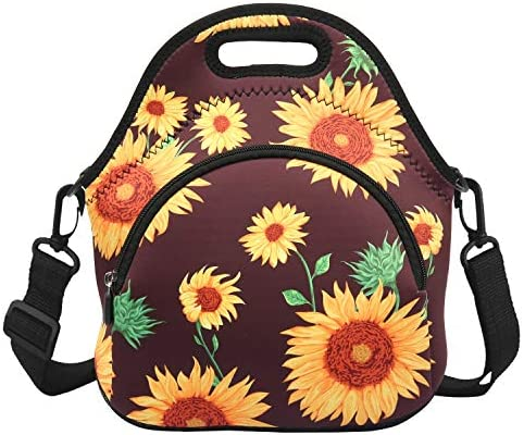 Violet Mist Neoprene Lunch Bag Tote with Pocket Shoulder Strap Insulated Thermal Lunch Box Tote product image