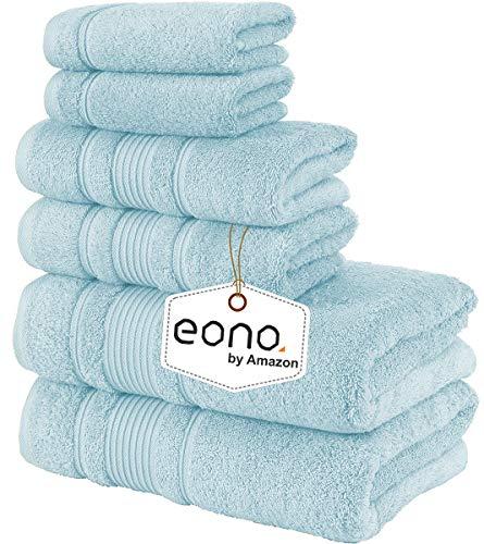 Eono by Amazon, Toallas de SPA y Hotel Juego de Toallas de 6 Piezas, 2 Toallas de baño, 2 Toallas de Mano y 2 toallitas(Ruta aérea)