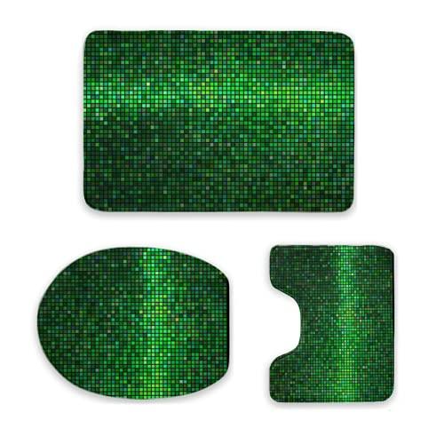 Juego de tapetes de baño, Green,Abstract Vibrant Square Pixel Mosaic Design Geometric Technology Theme Digital Grid PrintJuego de tapetes de baño de 3 piezas | | Alfombras de baño antideslizantes +