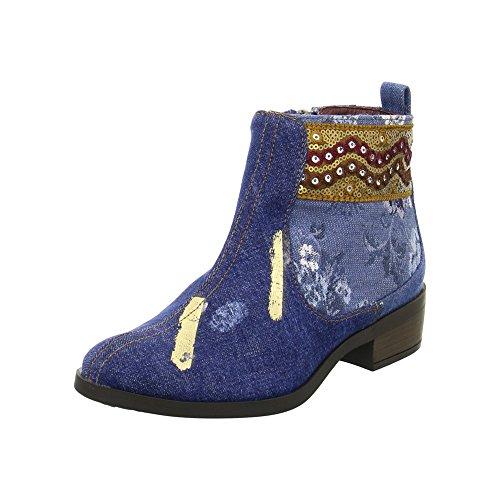 Desigual Denim Patch Boho, Bottes Chelsea Femme, Bleu (Jeans 5006), 36 EU