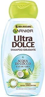 غارنييه: Ultra Dolce ( Super Sweet ) شامبو مرطب بماء الكاكاو والصبار - زجاجة 8.45 أونصة سائلة (250 مل) [مستورد إيطالي]