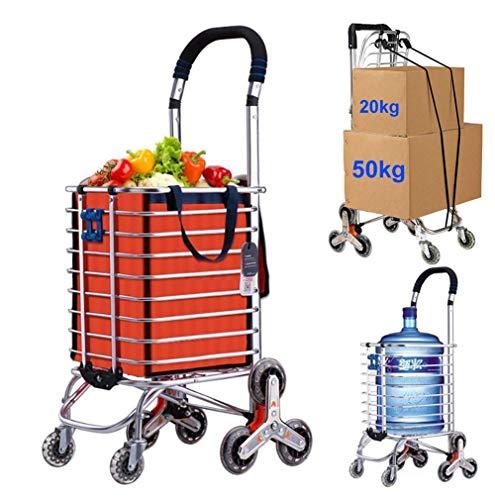 Carro de la Compra Plegable para lavandería de comestibles, aleación de Aluminio para Subir escaleras de 8 Ruedas, Capacidad de Carga 50 kg, Bolsa de Almacenamiento de Cuerda para Equipaje con Gancho