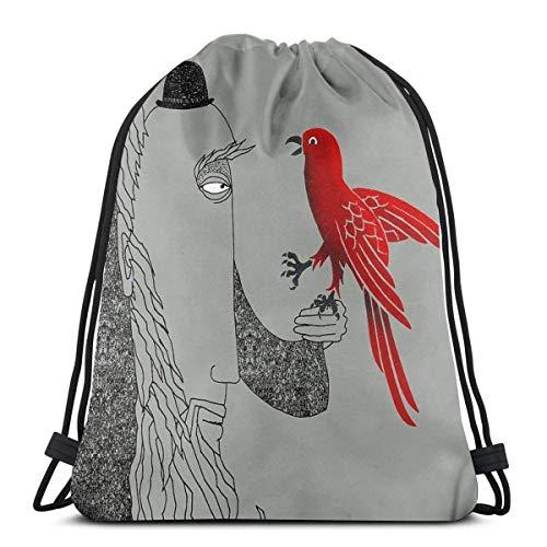 Yuanmeiju Darwin and Red Bird Shoulder Bolsa con cordón Backpack String Bags School Rucksack Gym Sport Bag Lightweight