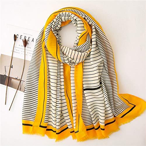 Xinhui damesjaal, modieus, gestreept, viscose, sjaal, voor dames, met rijst en capuchon, 180 x 100 cm