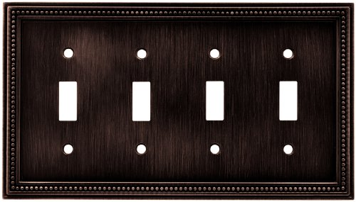 Brainerd 64404 Beaded Quad Toggle Switch Wall Plate / Switch Plate / Cover, Venetian Bronze