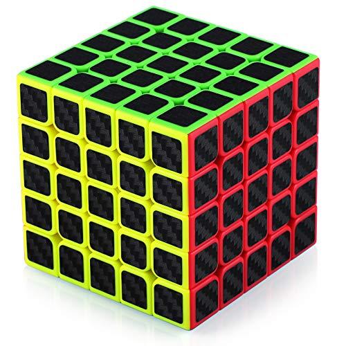 TOYESS Speed Cube Rompecabezas Cubo de Fibra de Carbono 5x5x5 Cubo Magico Liso Cubo de Velocidad Regalo para Adulto Niños,Negro