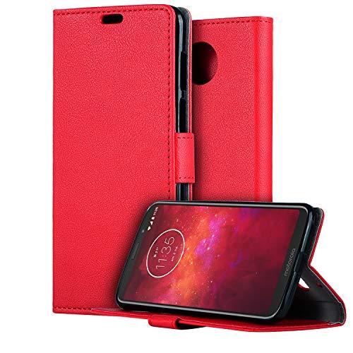HDRUN Motorola Moto Z3 Play Leder Hülle - Premium PU Leder Flip Tasche Hülle mit Kartensteckplätzen & Ständerfunktion Schutzhülle Handyhüllen für Moto Z3 Play, Rot