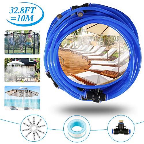 Sistema de vaporización, sistema de vaporizador exterior, vaporizador de terraza, kit de vaporización, ideal para sistema de riego para sombrillas, gasebo, invernadero, piscina, etc. (10 m)