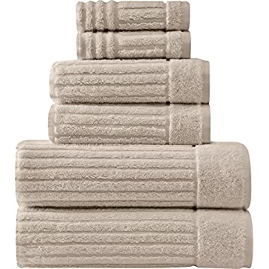 Luxury Bath Towel Collection Set - Ultra Absorbent and Plush Complete Towel Set With Unique Ribbed Design - Made with 100% Cotton (Mist Grey)