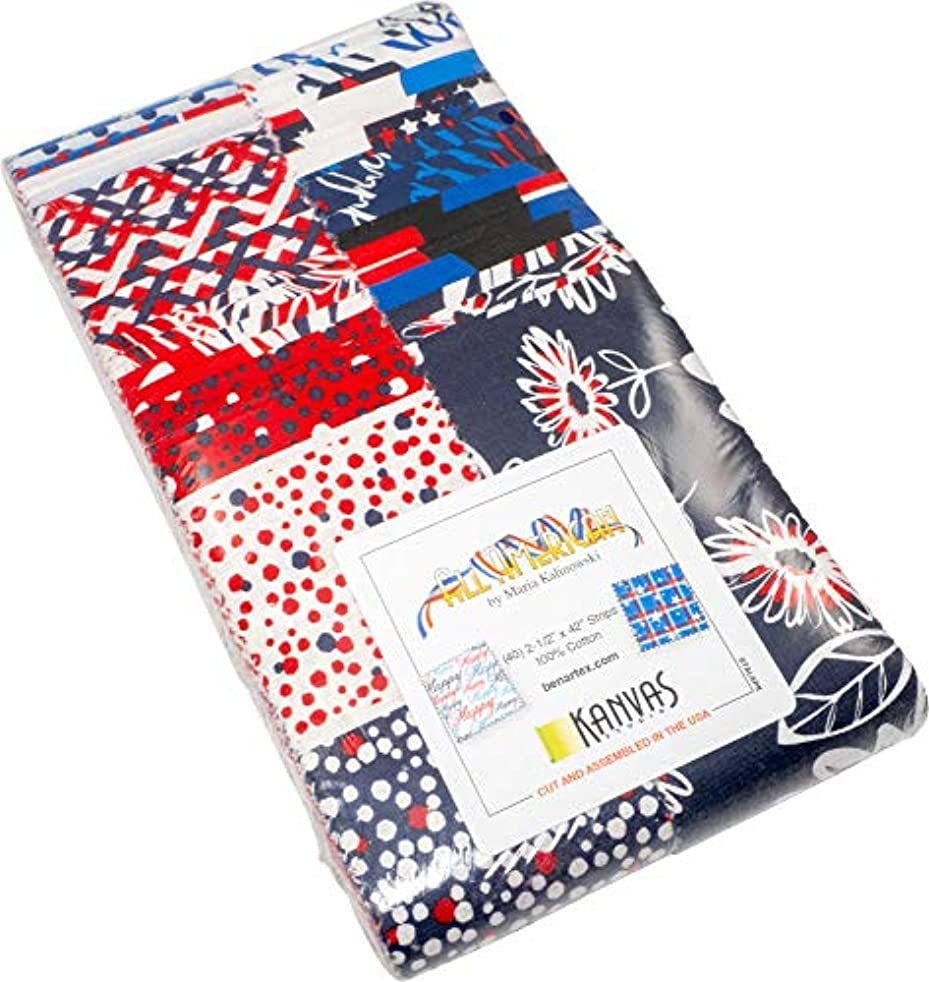 All American Patriotic Strip-Pies 40 2.5-inch Strips Jelly Roll Benartex