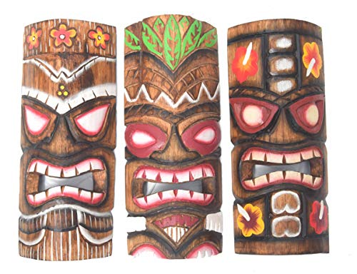 Interlifestyle 3 Tiki Masken 30cm im Hawaii Style 3er Set Holzmaske Wandmaske Wandmasken Osterinsel Südsee Karibik