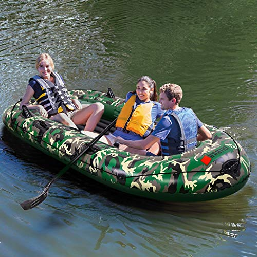 10FT Camouflage 3 Person Boat,3 Layer PVC Inflatable Dinghy Boat/Touring Kayak Canoe Boat Set/Fishing Rafting Water Sports Inflatable Dinghy Boats High Output Air Pump