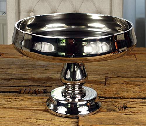 MichaelNoll Dekoteller Schale Servierplatte Aluminium Silber Luxus Poliert - Moderne Dekoschale aus Metall - Tischdeko Hochzeit 28 cm