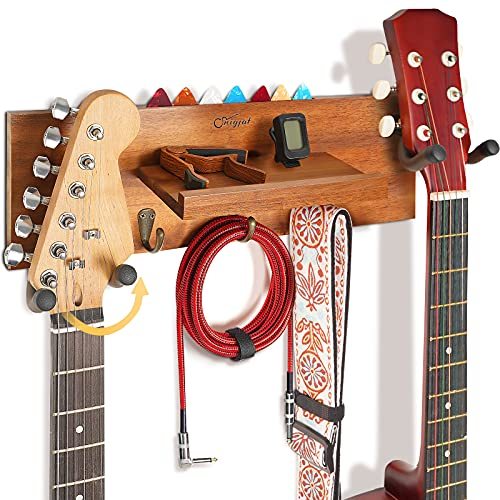 Guitar Wall Mount with 2 Rotatable Rubber Hook, Wood Guitar Wall Hanger with Shelf...