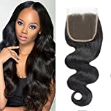 DMS Brazilian Body Wave 4'x4' Free Part Lace Closure 100% Unprocessed Human Hair Natural Color8'
