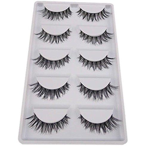 Bluelans® 5 Paar Schwarz Quer Lange Künstliche Falsche Wimpern Weiche Eyelashes Wimpernverlängerung Party Make-up