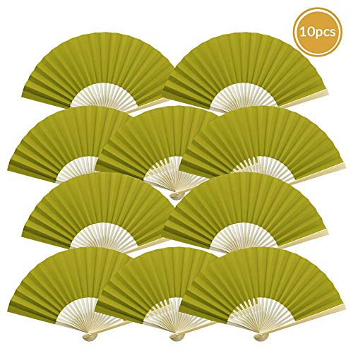 "Quasimoon 9"" Chartreuse Paper Hand Fans for Weddings, Premium Paper Stock (10 Pack) by PaperLanternStore"