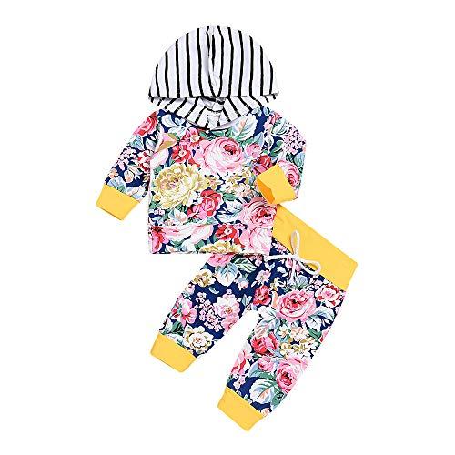 Kobay Kobay 2PCS Kleinkind Baby Lange Hülsen Blumendruck mit Kapuze Spitzenstrickjacke + Hosen eingestellt(3-6M,Mehrfarbig)