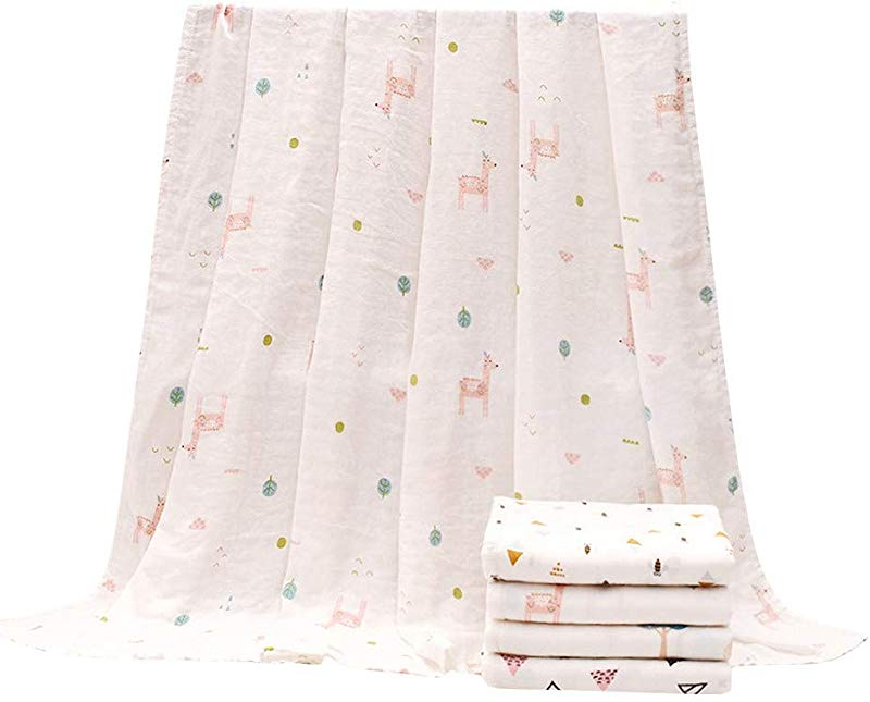 BYTWO Newborn Baby Swaddle Blanket Cartoon Print Muslin Bamboo Fiber Gauze Multi Function Soft And Silky Bath Towel Nursing Cover Receiving Swaddle Wrap Best Baby Shower Gifts B