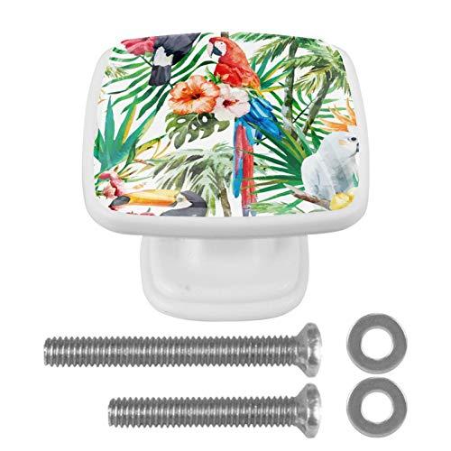 Juego de 4 pomos de cajón con forma de cristal, para cajón, cajón, armarios, armarios, armarios, con tornillos para el hogar, oficina, gabinete, acuarela, hojas tropicales, palmeras, pájaros y flores