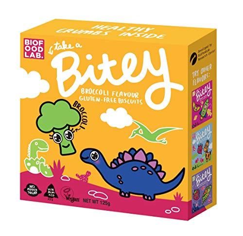Bitey Glutenfrei Kekse 8-pack, Brokkoli (8x125g), Vegan und ohne Gluten Keks für Kinder
