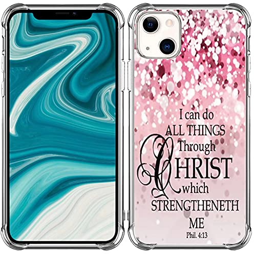 Bible Case for iPhone 13 Christian Verses Protective - Heavy Duty Protective Compatible with iPhone 13 [Christian God Biblical Jesus Religion Religious Themed Inspirational Psalms]