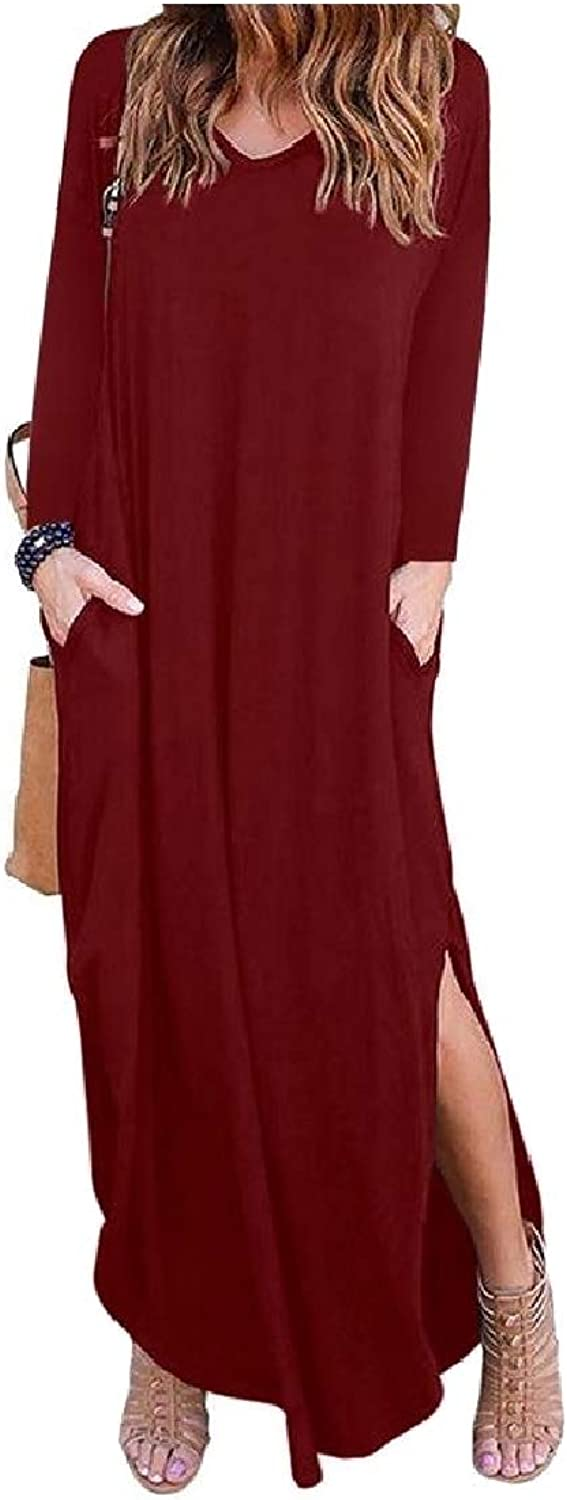 color&W Women Cut Out VNeck Solid Stylish Loose Long Sleeve Maxi Dress