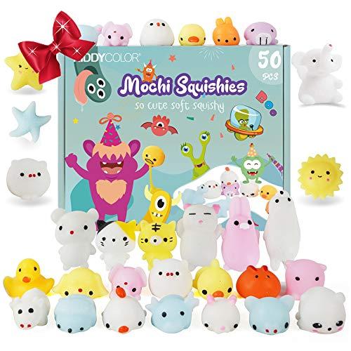 KIDDYCOLOR 50 Stück Mochi Squishy Toys Kawaii Animal Soft Squeeze Spielzeug für Kinder Stressabbau Spielzeug für Erwachsene (Multicolour)