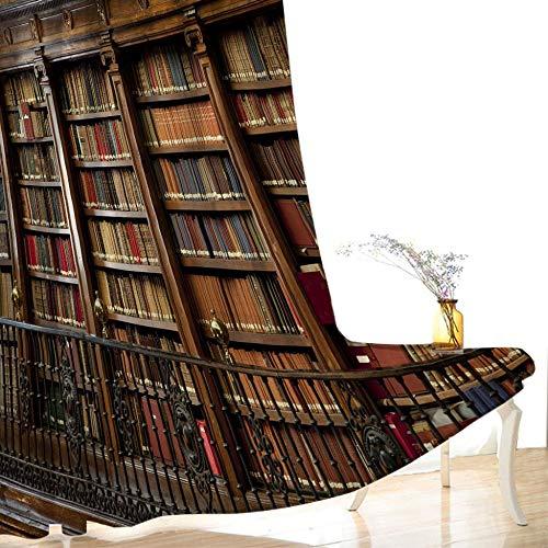 CLYDX Gardine Verdunklungsgardine Retro Bibliothek 2 Stück Verdunkelungsvorhänge mit Ösen Vorhänge Blickdicht Kälte und Wärmeisolierung, 75x166 cm