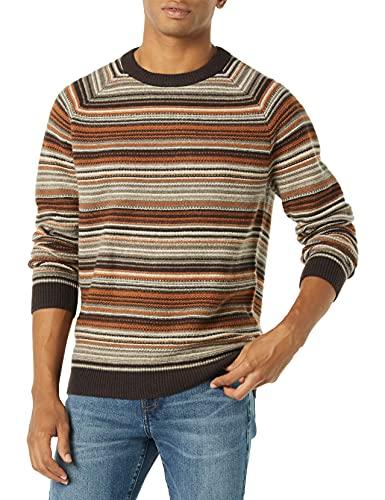 Goodthreads Lambswool Crewneck Sweater Suéter, Marrón, Estampado Navideño, XS
