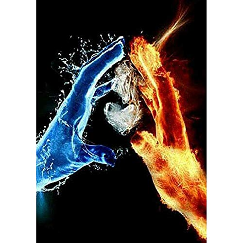 DIY 5D Diamond Painting by Numbers Kits, Ice Fire Hand Heart 30x40cm Canvas Full Drill Diamond Art Paint with Diamonds Crystal Cross Stitch (Hand)