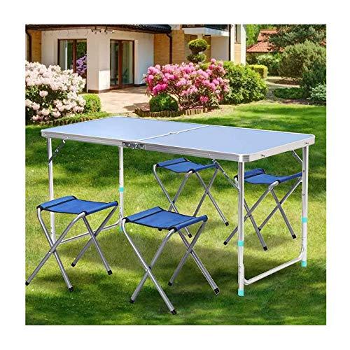 Tisch- und Stuhlset im Freien Aluminiumlegierungs-Klapptisch und -Stuhl-Kombination, 4-Personen-Camping-Grill-Picknicktisch und -Stuhl, tragbarer Tisch und Stuhl-Set, 120x60cm
