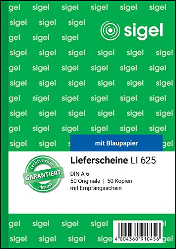 SIGEL LI625 Lieferscheine mit Empfangsschein, A6, 2x50 Blatt, 1 Stück