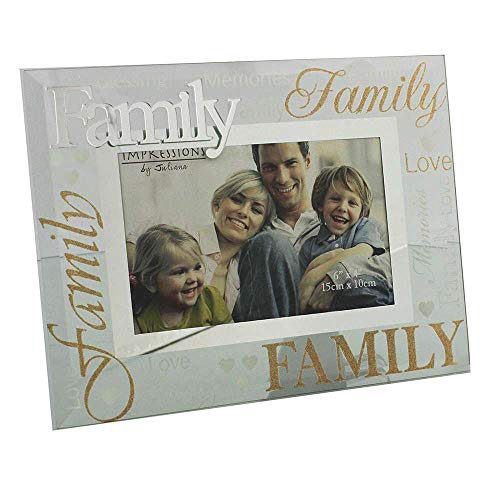 Family Glitter Glass and Mirrored Words Photo Frame Lovely Gift by Juliana