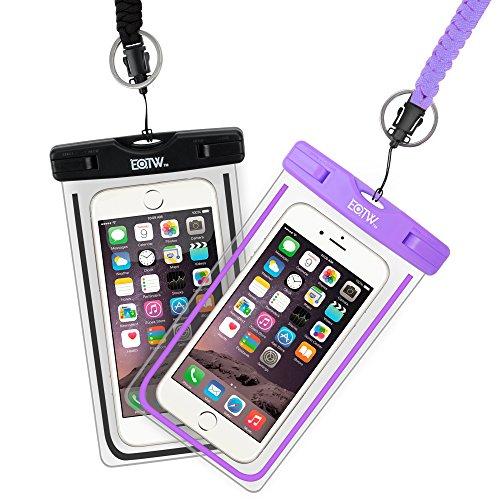 EOTW Funda Aqua Movil IPX8 Funda Sumergible Móvil 2 Pack para Huawei P20 P30 Pro iPhone X XS MAX XR 8 Plus Samsung S10 S9 S8+ J7 y Otros Móviles hasta 6.5 Pulgadas (Negro+púrpura)