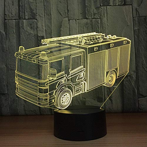 3D Illusion Night Light bluetooth smart Control 7&16M Color Mobile App Led Vision Fire Truck USB As Children Room Toys Decoration Year Unique colorful Creative gift