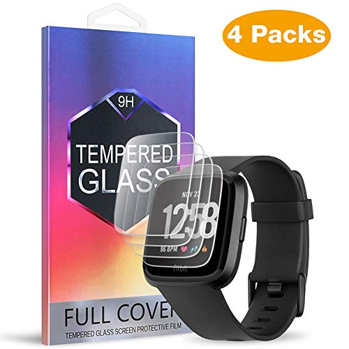 (4-Pack) MEBUYZ for Ticwatch E Screen Protector, Tempered Glass Screen Protective Film Anti-Bubble Anti-Scratch Screen Guard for Ticwatch Express & Ticwatch Sport (Ticwatch E)