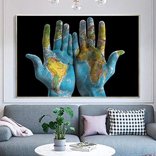 Zqylg Peinture sur toile Art mural photo imprime des photos murales créatives carte du monde sur les mains pour salon décor à la maison affiches et impressions décor à la maison 32x48 pouces Rahmenlos