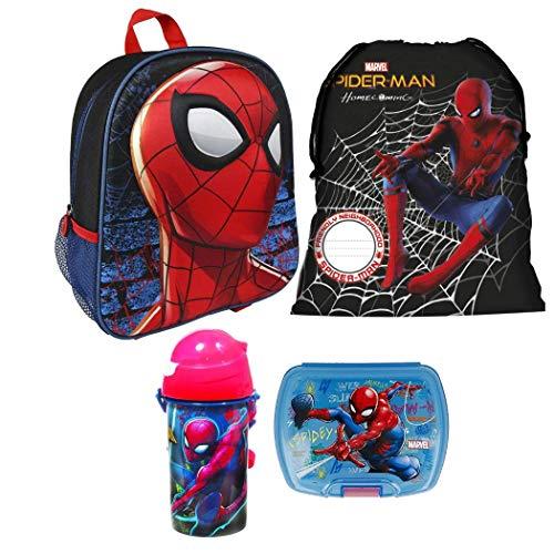 Spiderman Spider Man 3D Rucksack Tasche Kindergarten 4 Teile Set Brotdose Flasche inklusive Sticker von Kids4shop