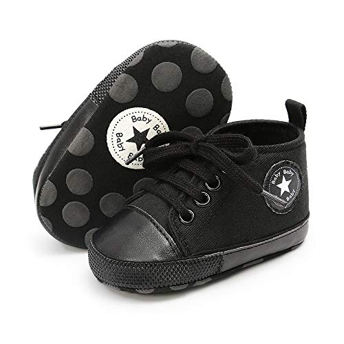 Save Beautiful Baby Girls Boys Canvas Sneakers Soft Sole High-Top Ankle Infant First Walkers Crib Shoes (0-6 Months Infant, H-Black)