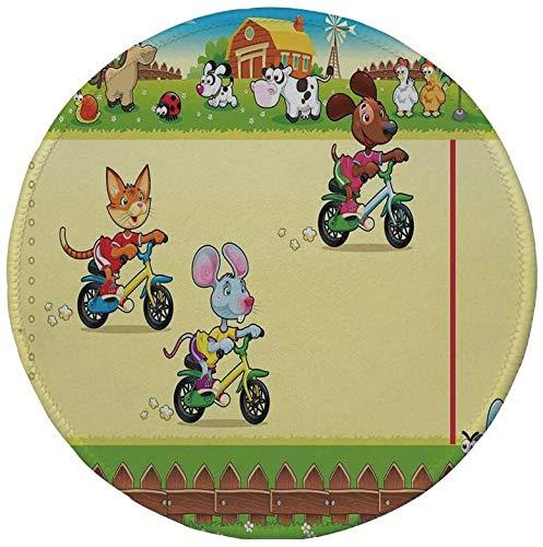 Rutschfreies Gummi-Rundmaus-Pad Kinder Rennmaus Katze und Hund auf dem Fahrrad in Farm mit Tier-Comic-Karikatur-Illustration mehrfarbig 7.9