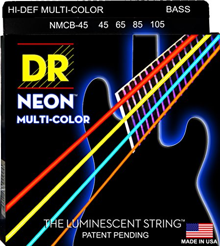 DR Strings NMCB-45 DR NEON 4 Bass Guitar String, Medium, Multi-Color