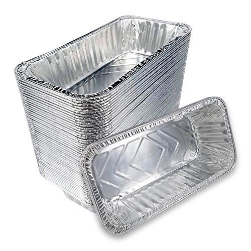 Lot de 50 plats rectangulaires jetables en aluminium, 220 x 110 x 55 mm, pour la cuisine, les barbecues, les gâteaux, les repas des enfants, les dîners de famille ou entre amis, les mariages