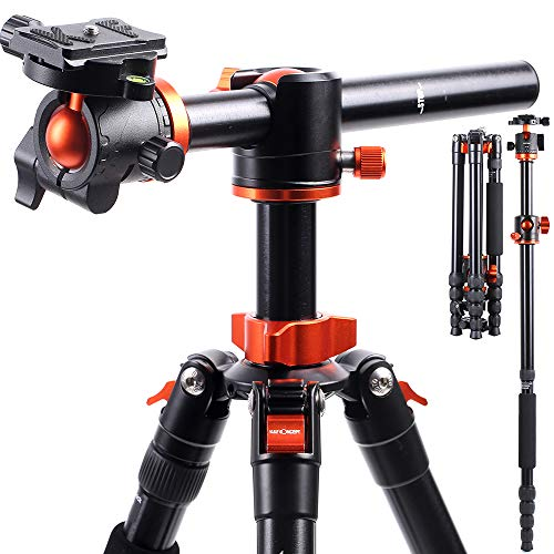 """K&F Concept Treppiede Fotocamera Reflex TM2515T1 con 360° e 180° Colonna Centrale Trasversale, Cavalletto Monopiede, Testa a Sfera Grande y 1/4"""" Piastra a Sgancio Rapido per Canon Nikon Sony Camera"""