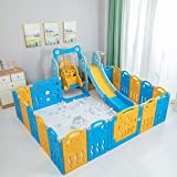 BAHOM Baby Playpen with Slide and Swing, 18-Panel Play Fence, 3 in 1 Climber Slide Playset, Toddler Activity Center Indoor Outdoor for Kids