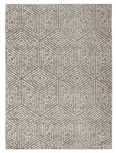 "Diagona Designs Contemporary Geometric Cubes Design Modern 8' X 10' Area Rug, 94"" W x 118"" L, Gray/Ivory (JAS2193)"